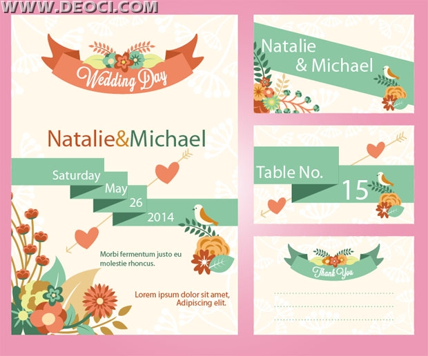 Deoci Vector Templates Greeting Card Vine Wedding Invitation Cards Graphic Design Eps