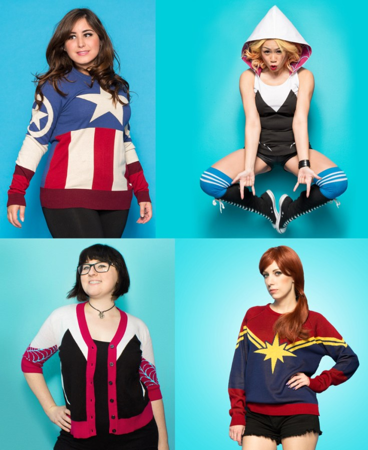 we love fine, geek fashion, captain marvel, spider gwen, captain america, marvel, marvel comics, depepi, depepi.com