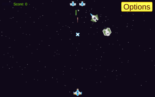 Screenshot from Laser Defender, the player ship shooting at and dodging missiles from two enemy ships