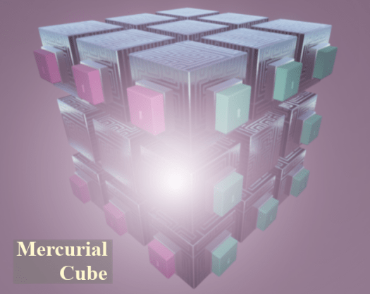 "A cube made of 27 smaller cubes labeled with ""Mercurial Cube"""