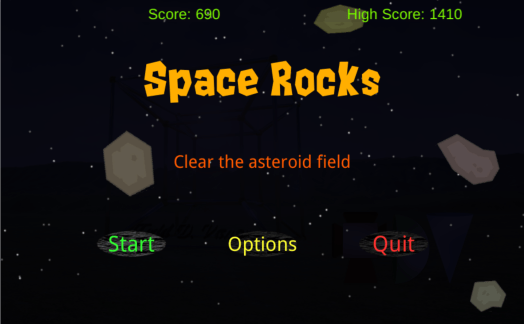 Space Rocks opening screen, with asteroids and menu
