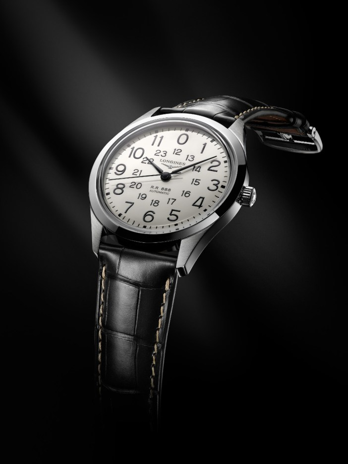 Paired with a black alligator leather strap, the Longines RailRoad is a classy and rather dressy timepiece.