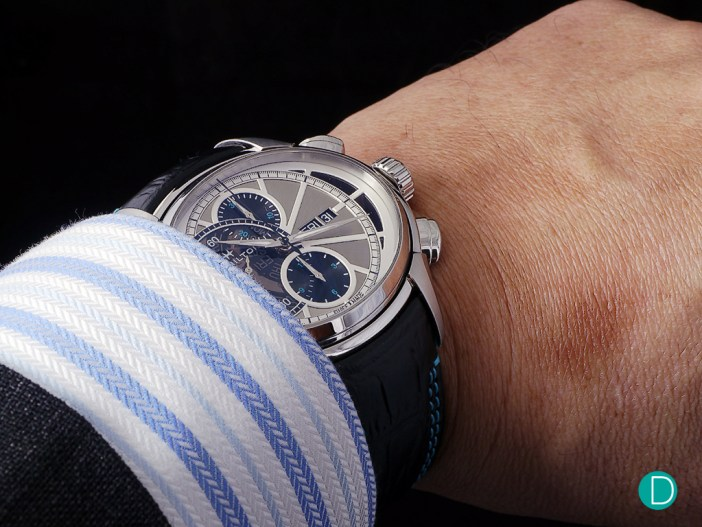 The Hamilton Face 2 Face II is a rather watch, measuring some 53mm x 44mm, but its oval shape allows it to be worn rather comfortably on the wrist. And looks at home even under the cuffs of a bespoke shirt and suit.