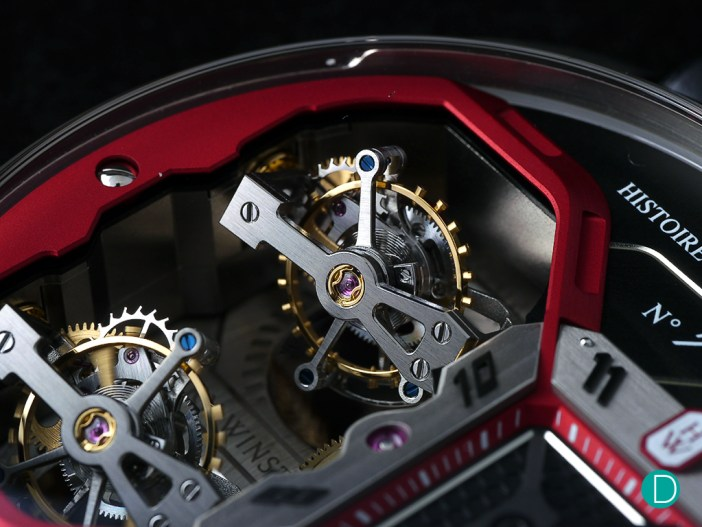 Beautiful shot of the two biaxial tourbillons in motion