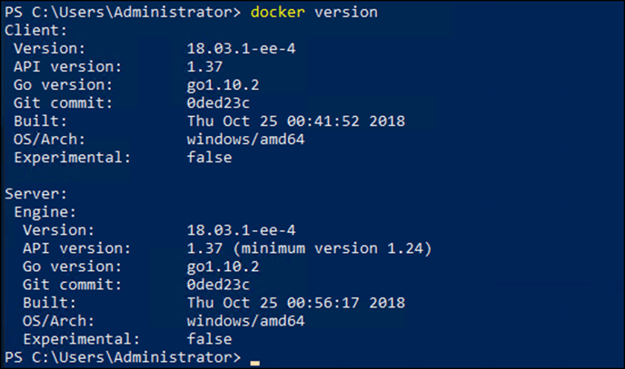 Install the latest Docker Enterprise Edition on Windows Server 2019