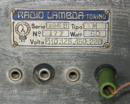 Radio Lambda 325B-M - targhetta