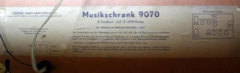 Radio Grundig Musikschrank 9070 - targhetta identificativa