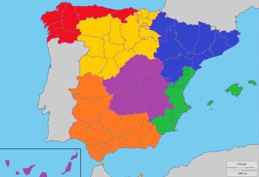 Serie 2:Estaría integrada por 18 Grupos, siendo la actual distrubución por Comunidades Autónomas.