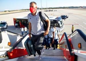 Salida de la Selección Española de Fútbol hacia Badajoz