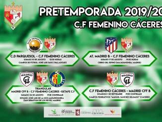 Calendario de pretemporada C.F Femenino Cáceres