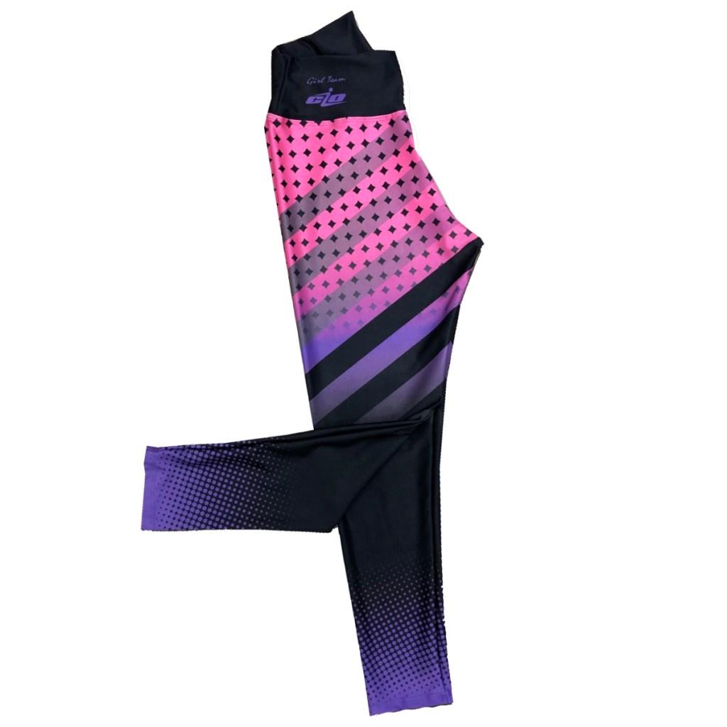 leggins cio barras y bolitas negro morado rosa