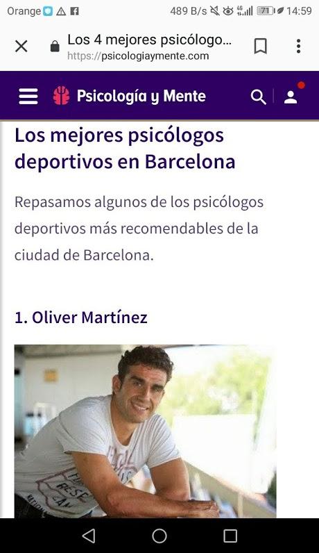 Oliver de Deportivamente mejor psicólogo deportivo según la revista Psicología y Mente