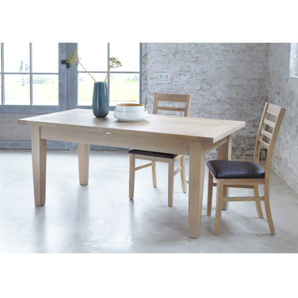 table rectangulaire extensible 160 contemporaine chene massif milano