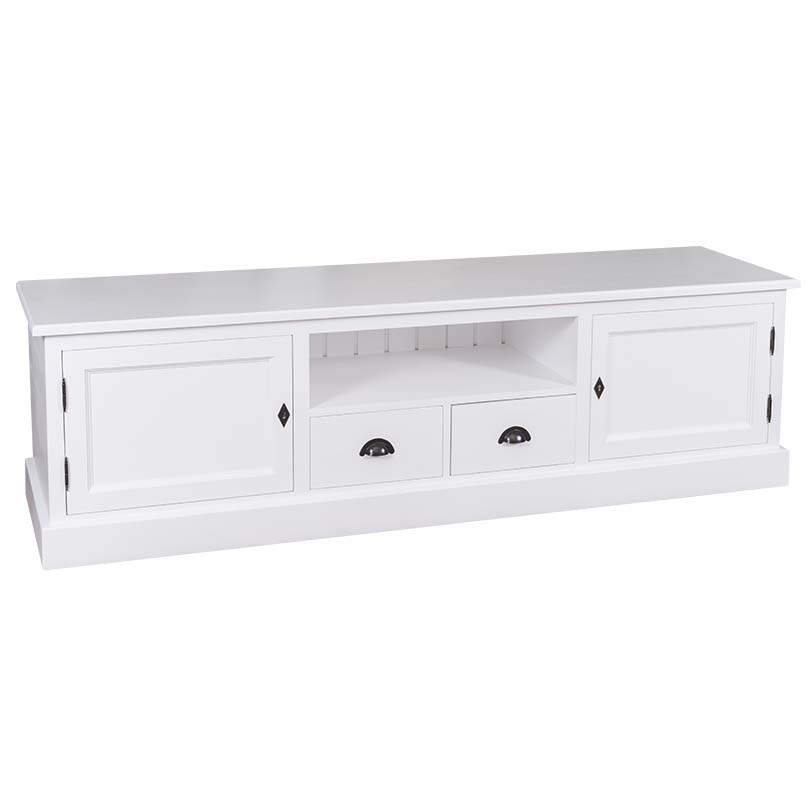 meuble tv en bois massif romane 200x46x56 cm