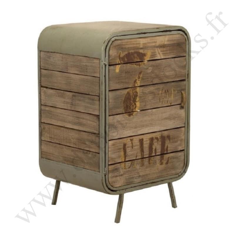 meuble de rangement ouvrant a 1 porte de style vintage industriel en metal et vieux bois
