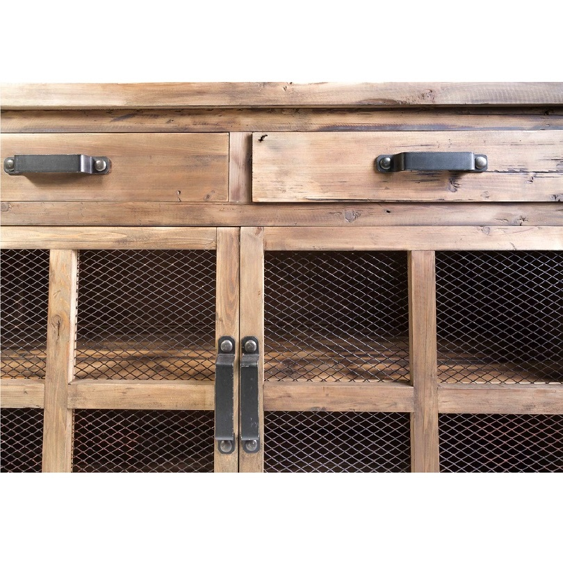 buffet trollet vintage industriel metal vieux bois avec roues 140x50x107 cm