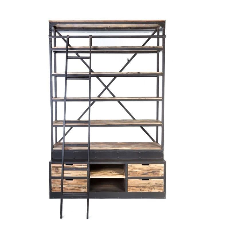 grande etagere vintage industrielle metal vieux bois 160x45x243 cm