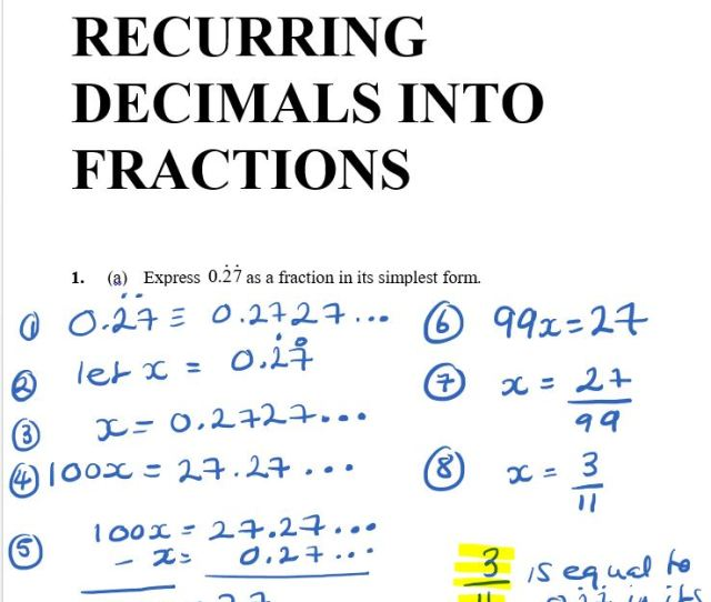 Express 0 27 As A Fraction In Its Simplest Form Recurring Decimals Practise Gcse Maths