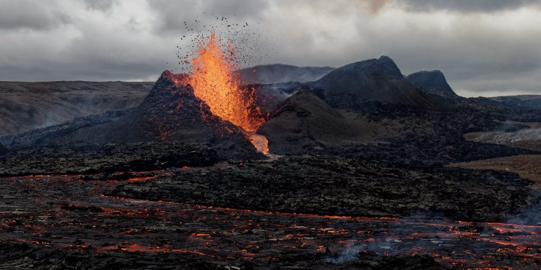 El volcán al atardecer