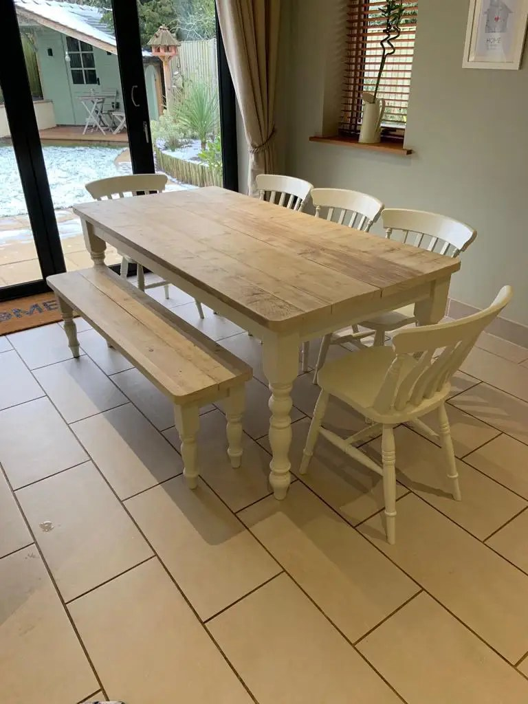 reclaimed and restored dining room table with 4 seats and bench in ivory