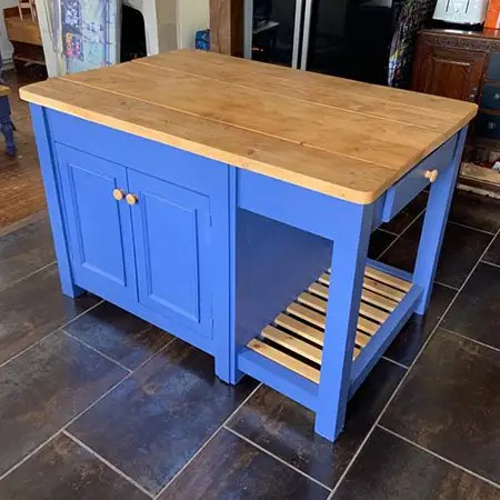 bespoke kitchen island made from reclaimed wood