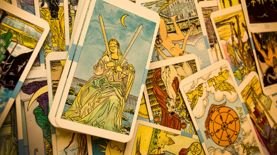 tarot cards in a pile