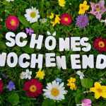 schönes Wochenende Text auf Blumen Wiese