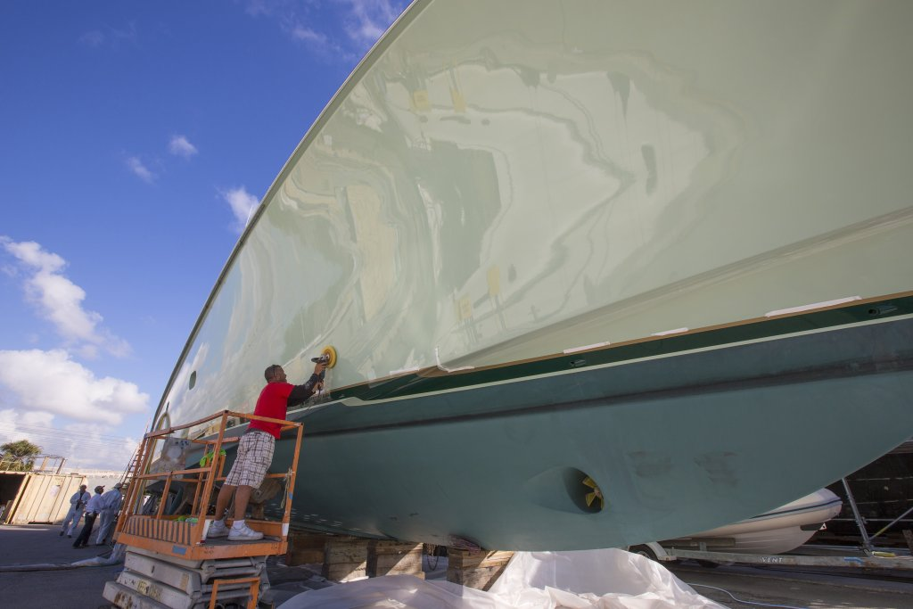 Bottom paint maintenance at Derecktor Shipyard in Fort Lauderdale, FL.
