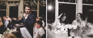 Groom gives a speech at his Briars reception, Bride reacts
