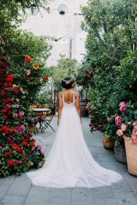 Bride shows off her dress at The Grounds in Alexandria