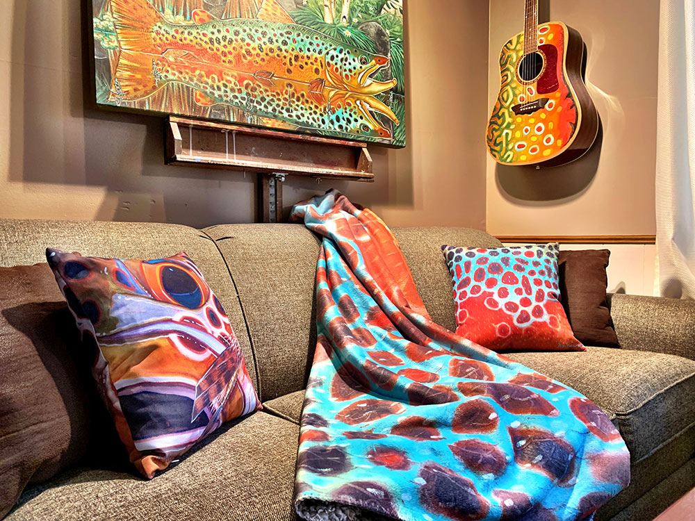 brown trout throw pillows and sherpa blanket set
