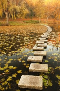 photo of stepping stones across a lake