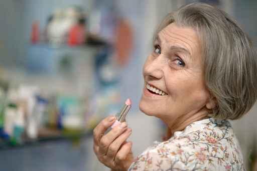 Elder woman with lipstick