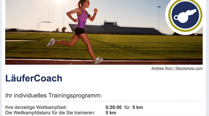 Screenshot LäuferCoach runnersworld
