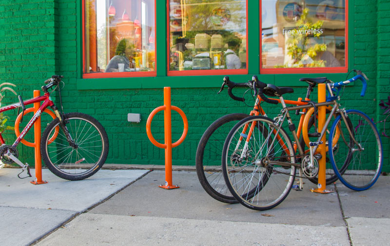 dero bike hitch post and ring style bicycle rack
