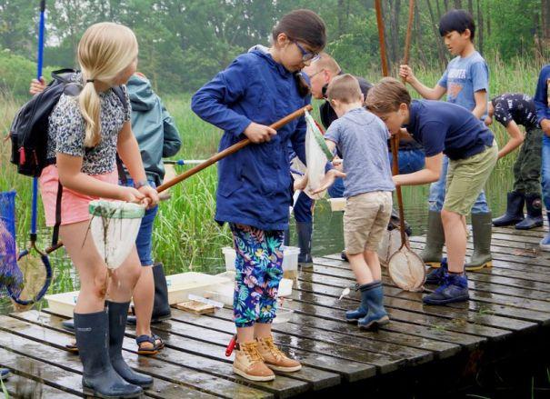kinderen waterbeestjes scheppen