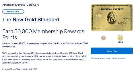 The New Rose Gold AmEx Card: 50K MR on $2k spend, 20% Dining