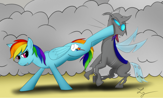 Rainbow Dash vs Changeling by Lycan-01