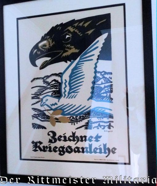 "GERMANY - POSTER - RAMED ""ZEICHNET KRIEGSSANLEIHE"" - Imperial German Military Antiques Sale"