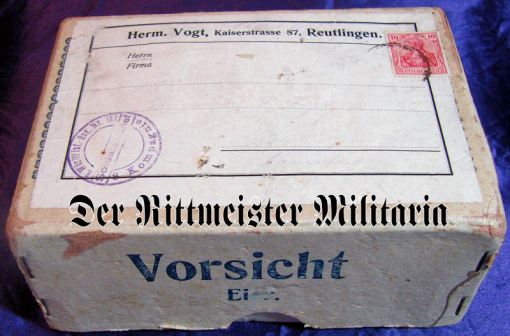 SHIPPING BOX - SENT TO SOLDIER IN Württemberg - Imperial German Military Antiques Sale