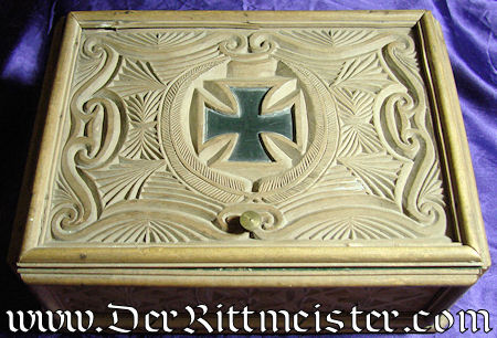 GERMANY - PATRIOTIC BOX - intricately carved - with Iron cross motif - Imperial German Military Antiques Sale