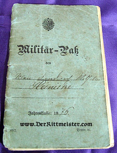 MILITÄRPAß - 1870'S GERMAN ARMY - ULANEN-REGIMENT Nr 11 - Imperial German Military Antiques Sale