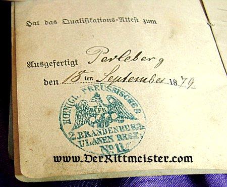 MILITÄRPAß - 1870'S GERMAN ARMY - ULANEN-REGIMENT Nr 11 - Imperial German Military Antiques Sale