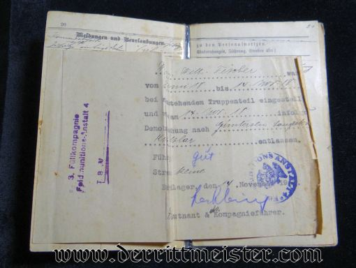 INFANTERIE-REGIMENT Nr 164 MILITÄRPAß - PRUSSIA - Imperial German Military Antiques Sale