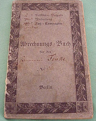 ABRECHNUNGS-BUCH - Imperial German Military Antiques Sale