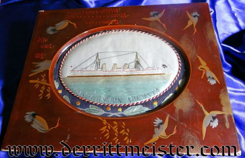 FRAMED PRESENTATION - S.M.S. KAISERIN AUGUSTA SAILOR'S  - CHINA - Imperial German Military Antiques Sale
