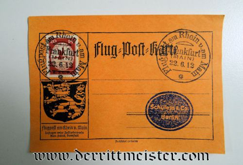 FLOWN PRE WW I AIRMAIL POSTCARD - Imperial German Military Antiques Sale