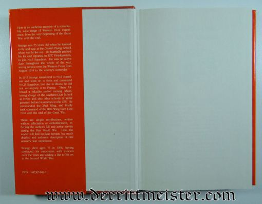 RECOLLECTIONS OF AN AIRMAN by LT. COL. L. A. STRANGE - Imperial German Military Antiques Sale