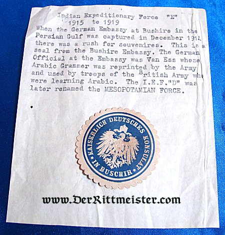 GERMANY - PAPER STAMP - GERMAN CONSULATE - BUSCHIR - Imperial German Military Antiques Sale