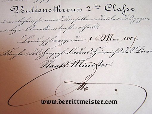 AWARD DOCUMENT - SERVICE CROSS 2nd CLASS - HENRY THE LION - BRAUNSCHWEIG - Imperial German Military Antiques Sale